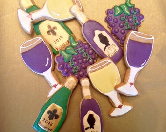 Wine bottle, glass, grapes, Rehearsal Dinner, Wedding, Luncheon, Tea Party, Bachlerette Party, Birthday, Favors, Gifts, Custom cookies