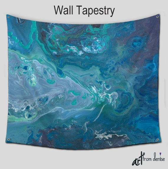 tapestry wall hanging teal blue gray abstract wall art. Black Bedroom Furniture Sets. Home Design Ideas
