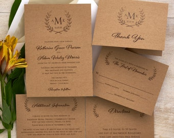 Rustic Wedding Invitation Set - Monogram Wedding Invite - Cottage Chic Wedding Invitation Suite - Custom Wedding Invitation - AV6462