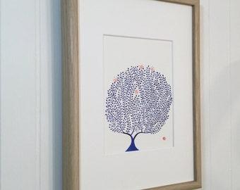original illustration pen and ink blue - tree of life