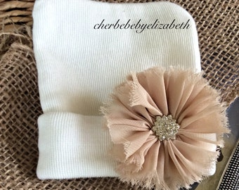 Hospital hat, Newborn tan flower with jewel Beanie, bling coming home hat, Newborn, floral, White jewel hat, Hospital Hat