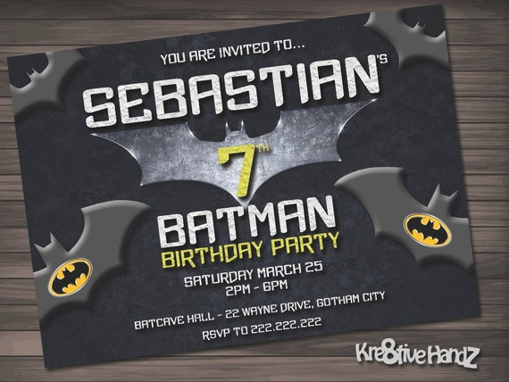 Batman Birthday Party Invitation customized printable invite for boys or girl of any age + Free Thank You Card