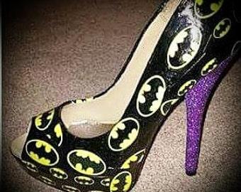 batman inspired womens custom made shoes