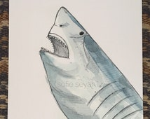 Great White Shark Jaws Watercolour Fish Nautical Illustration - Greeting Card