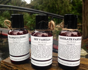 All natural, edible massage oils: Chocolate, Vanilla, Tranquillizing. Aphrodisiac, Boyfriend/girlfriend gift ideas, Body oil, Bath oil