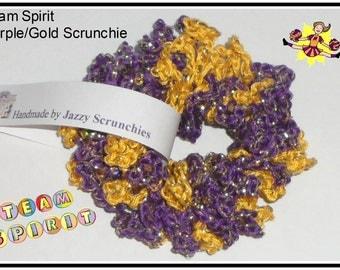 Purple and Gold Scrunchie, purple scrunchie, gold scrunchie, Team Spirit