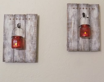 Rustic Wall Decor ~ Reclaimed Wood Wall Sconce ~  Wooden candle holder ~ Country decor ~ Wedding gift ~ Housewarming gift ~ Set of 2