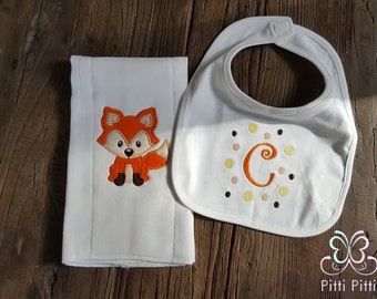 Baby Boy  Fox set burp cloth and bib - Appliqued Fox Burp cloth & bib