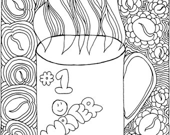 Writer's Mug Coloring Page
