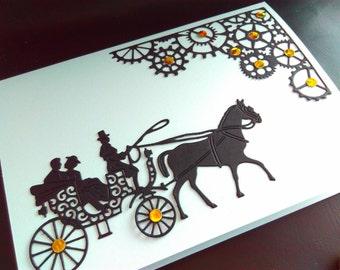 Handmade wedding card, blank card, handmade steampunk card, steampunk wedding card, paper cut wedding card, steampunk wedding, steampunk car