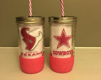 Pink NFL Glitter Dipped Mason Jar Tumblers