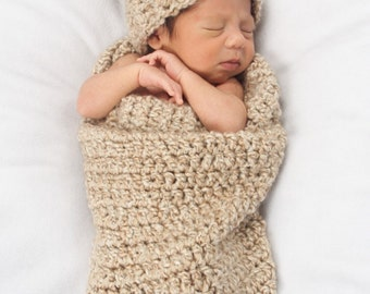 Baby Photo Prop - Newborn Cocoon and Teddy Bear Hat - Crochet Baby Cocoon and Hat Set