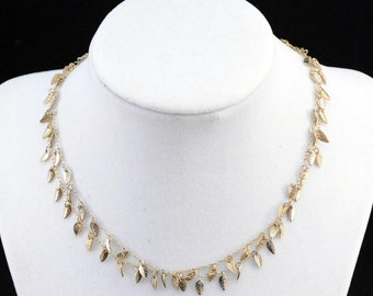 Gold Chain Necklace, Leaf Chain Necklace, Gold Leaf Necklace         J693