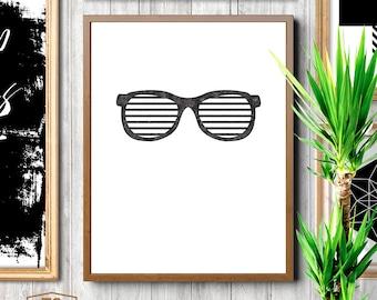 Stripes art, stripes wall art, stripes print, minimalist prints, black and white stripes sunglasses, black sunnies, party wayfarers
