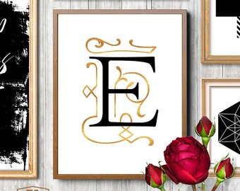 Gold and black nursery, alphabet E, Letter E, girl baby names with E, flourish script, beautiful nursery decor