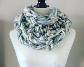 Blue & White Arm Knit Scarf