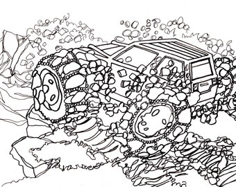 how to draw a 4x4 truck