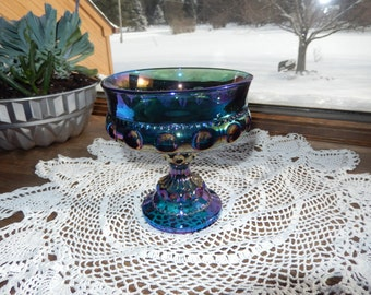 Indiana Glass Co. Blue Carnival King's Crown Thumb Print Compote