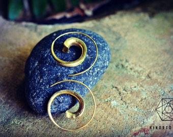 Tribal Spiral Earrings, Sacred Geometry, Brass Jewelry, Tribal Earrings, Indian Jewelry, Ethnic Jewelry, Bohemian Jewelry, Yoga Jewelry