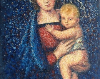 100%  Handmade Oil Painting, Madonna and Child, after Raphael, Small Painting, Saint Portrait, Mary and Jesus, Catholic, Religious Painting,