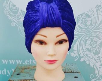 Handmade Vintage Retro Turban in Purple Crushed Velvet