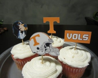 Cupcake toppers, party supplies, Tennesse Vols, football