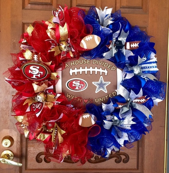 Sports Wreath House Divided Wreath Football Wreath House