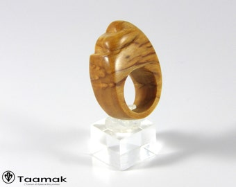 Precious made hand Piece unique Taamak curly birch from Norway-ring for woman-art-wood ring ring