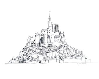 Mont-St-Michel Print - A4 Illustration Art Print