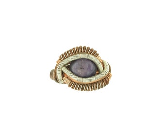 Charoite Copper with Silver Accent Ring Sz 7