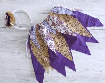 Purple & Gold Fairy Skirt Flower Crown Gypsy Skirt Faerie Skirt Girls Birthday Outfit Shabby Chic Outfit Flower Girl Dress Wedding