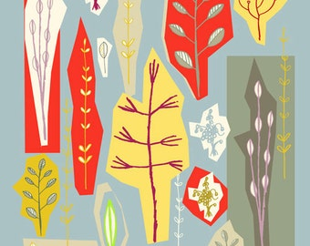 Springtime, PRINT of original mixed media illustration, mid-century inspired illustraion, blue red yellow, leaves, trees, branches, nature,