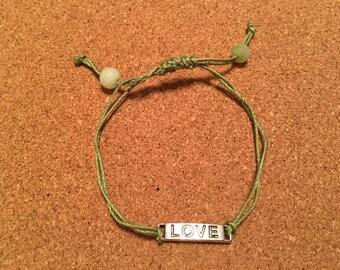 Green Love Slide Knot Bracelet