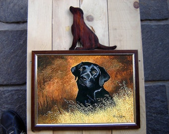 Door frame photos with Labrador Retriever sitting