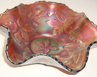 Fenton AUTUMN ACORN Ruffled Bowl