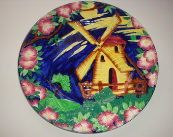 Vintage Maling Hand Painted WINDMILL Plate