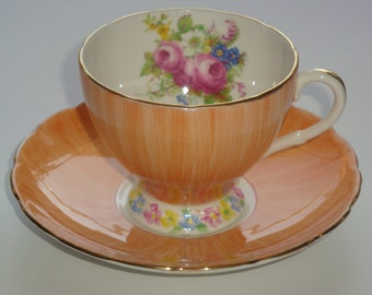 Foley Bone China England Orange Pearlized Tea Cup and Saucer