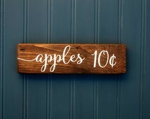 """Apple Sign - Fall - Apples 10 cents - Rustic Wood Decor  - Autumn - Thanksgiving -  Farmhouse Style - 9"""" x 2.5"""""""