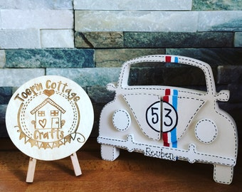 Freestanding hand painted personalised wooden classic vw beetle car keepsake home decor