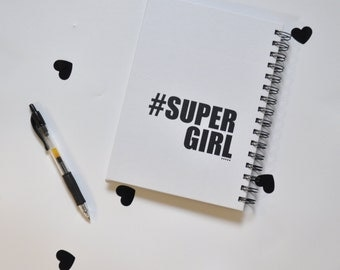 "hard cover spiral notebook ""supergirl"""