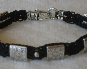 "3D Micro Macramé Bracelet, ""Sst"" Black with Pewter beads"