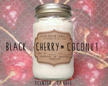 Scented Candle Black Cherry Coconut Soy Wax Candles   Cherry, Coconut, women gift, gift for her, girlfriend gift, gifts for women