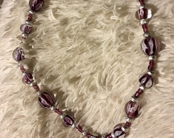 Purple glass beaded necklace