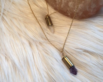 Double Crystal Bullet Necklace