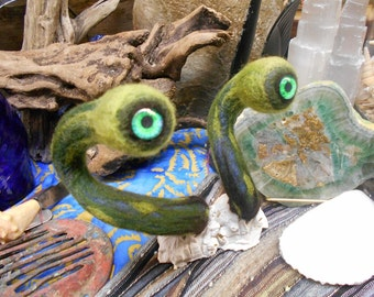 """Needle Felted """"See"""" Monster in Barnacle"""