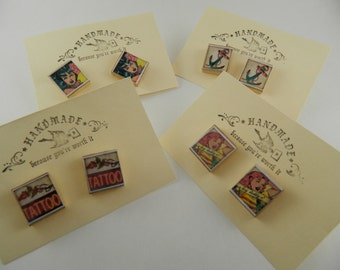 Retro Rocking Rockabilly Scrabble Tile earrings