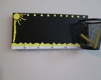 Hand painted Chalkboard key holder for wall - Wall mount chalkboard with hooks and storage cup - entryway hooks, girls jewelry hanger