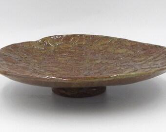 Ceramic Lace Trinket Dish Handmade Green Brown Pottery