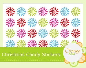 Christmas Candy Stickers, Christmas Party Favor Stickers