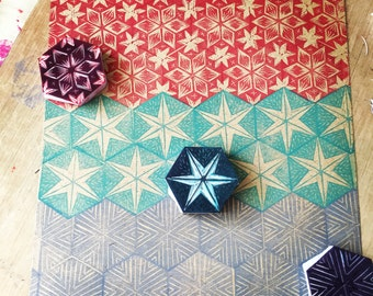 Hexagon stamp, hand carved stamps, stamp set, Christmas stamps, decorative stamp, repeat stamp, pattern stamps cardmaking tool, rubber stamp